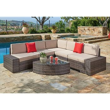 Suncrown Outdoor Furniture Sectional Sofa U0026 Wedge Table (6 Piece Set) All  Part 46