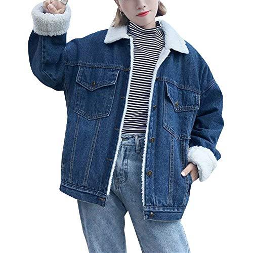 Fashion Tempo Giacche Dunkelblau Jeans Denim Termico Giovane Libero Women Button Invernali Cappotto Outerwear Jacket Sciolto Tasche Donna Velluto Spesso Manica Con Autunno Hot Elegante Lunga 6xfwYS5Iq
