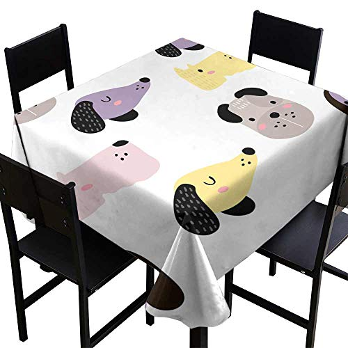 Fabric Dust-Proof Table Cover Seamless childish pattern with dog animal faces Creative nursery background Perfect for kids design fabric wrapping wallpaper textile apparel Great for Buffet Table W60