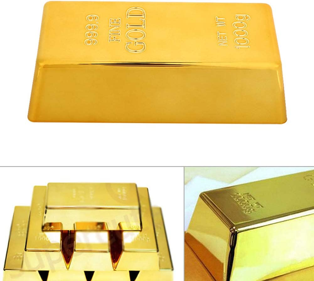 inch Gold Bullion Door Stopper,Fake Gold Bar Paperweight Gold Doorstop Door Wedge for Home Office Decoration,Size 6.7 by 3 by 2 Hollow