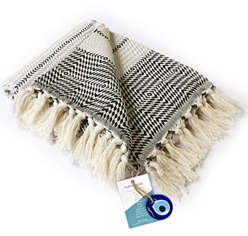 """Boho Throw Blanket Decorative Light Weight 100% Cotton  40""""x71""""  for Bed Chair Couch Sofa Outdoor Farmhouse Rustic Decor…"""