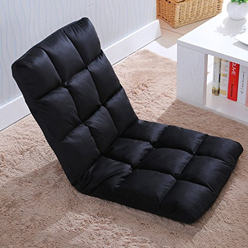 Selani™ Adjustable Floor Chair Folding Couch Sofa Six-position Multiangle Lazy Man Chair Soft Cushion Foldable Tatami Foldable Recliner Lounge Chair Home Essential Sofa (Black) (Black Folding Recliner)
