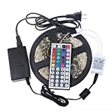Ascentan(TM) New 5050 RGB LED Strip waterproof Flexible tape 300LED 5M +44 Key Controller+12V 5A power supply