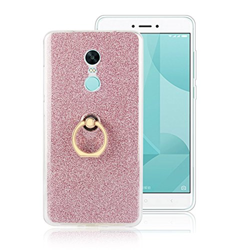 Price comparison product image Moonmini Xiaomi Redmi Note 4X. Case Cover Sparkling Slim Fit Soft TPU Back Case Cover with Ring Grip Stand Holder 2 in 1 Hybrid Glitter Bling Bling TPU phone Case Cover (Pink)