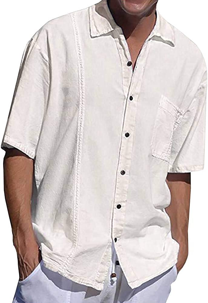 Pretifeel Mens Cuban Camp Linen Shirt Short Sleeve Guayabera Casual Button Down Summer Beach Pleated Loose Fit Shirts