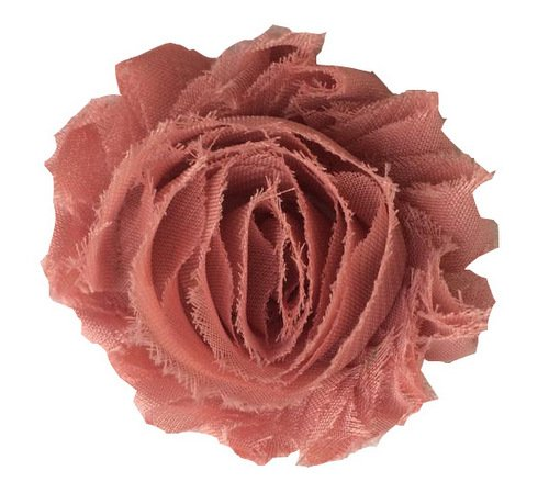 """14 pieces 2.5"""" Solid Shabby Chiffon Rose flower attached to Mesh Trim - Color Mauve"""