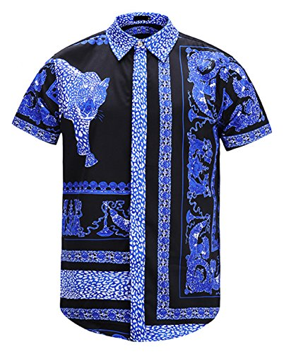 377912dc2e4 PIZOFF Men s Casual Short Sleeve Arc Bottom Luxury Floral Print Button Down  Party Office T-