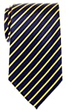 Retreez Thin Regimental Striped Woven Microfiber Men's Tie - Navy Blue with Yellow Stripe