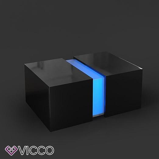 Vicco Couchtisch Led Schwarz Hochglanz Loungetisch Wohnzimmer