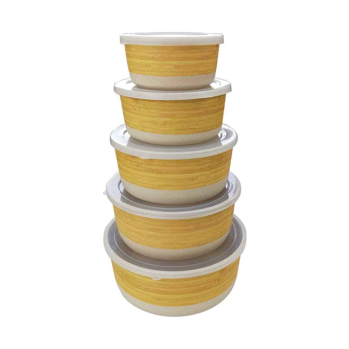 Set de Recipientes Herméticos para alimentos de bambú con tapa, 5 piezas,ecológico,Material ecológico sin BPA, Ideal para bebé e Infantil-rombo
