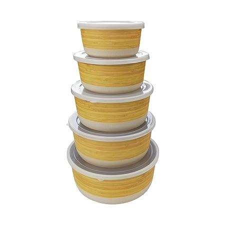 Set de Recipientes Herméticos para alimentos de bambú con tapa, 5 piezas,ecológico,Material ecológico sin BPA, Ideal para bebé e Infantil-bambu