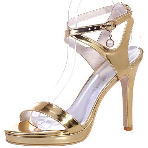 Loslandifen Mujeres Evening Prom Toe Sandalias De Tacón Alto Plataforma De Tacón Alto Zapatos De Boda Gold-b