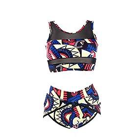 - 51SvIj5JhxL - PiePieBuy Womens Plus Size African Print Inspired Two Piece Bikini Bathing Suit from S-4XL