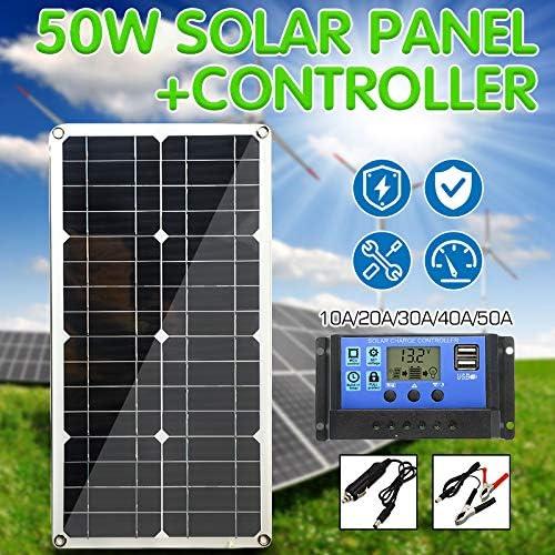 HJG 50W Solar Panel Dual USB Output-Solarzellen Poly Solar Panel 10/20/30/40 / 50A-Controller für Auto Yacht 12V Batterie-Ladegerät für Boote,with 20A Controller