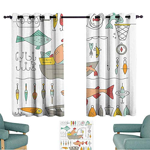 Heat insulation curtain Nautical Decor Collection Fishing Gear Fisherman in the Boat Catching Fish Rod Bobber Tackle Hook Clip Work Image Light Blocking Drapes with Liner W84