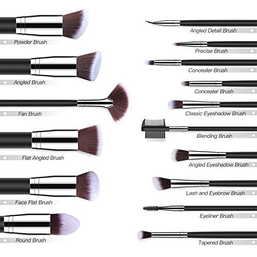 BESTOPE Makeup Brushes 16 PCs Makeup Brush Set Premium Synthetic Foundation Brush Blending Face Powder Blush Concealers Eye Shadows Make Up Brushes Kit (Sliver)