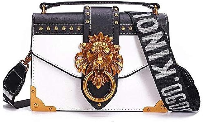 Cazacozy sac à main de luxe pour femme fashion sac porté main à bandoulière pu cuir noir blanc