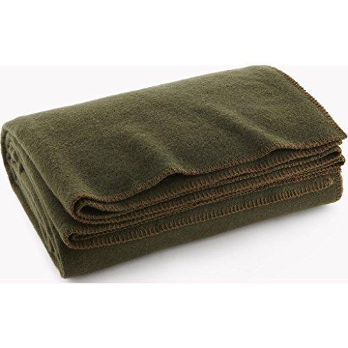 - Faribault Pure & Simple Wool Blanket - Olive - Queen
