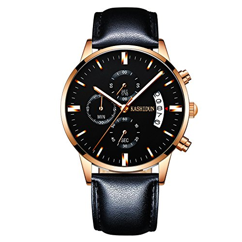 Black Leather Chronograph Watch (KASHIDUN Men's Watches Luxury Chronograph Waterproof Quartz Wristwatch Leather Strap Black Color)