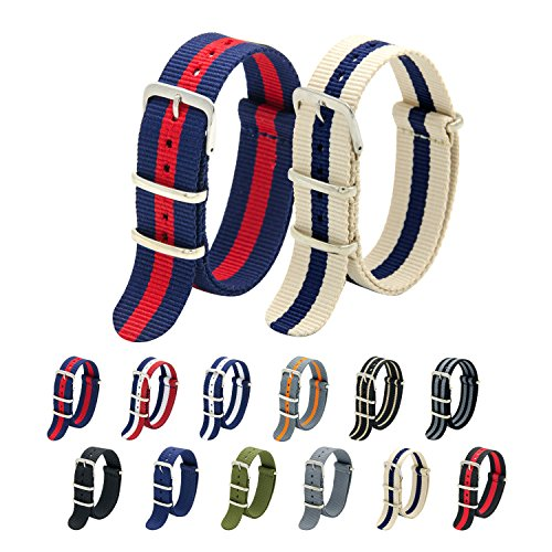 Nato Strap Pack of 2 - 20mm 22mm Premium Ballistic Nylon Watch Bands with Stainless Steel Buckle (Navy Crimsion+Linen Navy, 20mm)