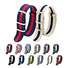 Nato Strap Pack of 2 18mm 20mm 22mm Premium Ballistic Nylon Watch Bands with Stainless Steel Buckle Top Spring Bar Tool and 4 Spring Bars (Navy Crimsion+Linen Navy, 22mm)