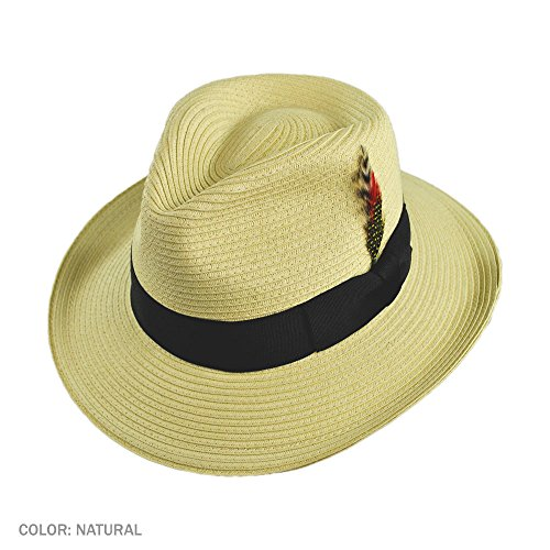 Jaxon Summer C-Crown Toyo Straw Fedora Hat (X-Large, (Toyo Straw Hat)