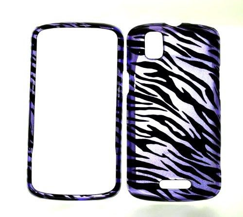 Zebra Motorola Faceplates (Purple Zebra Strips Snap on Hard Protector Faceplate Cover Case for Motorola Droid Pro A957 Xt610 + Microfiber Pouch Bag)