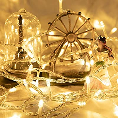 66FT 200 LED Christmas String Lights, Plug in Fairy Twinkle Lights with Remote 8 Modes Waterproof Indoor/Outdoor String Lights for Home Wedding Party Christmas Tree Holiday Decorations, Warm White: Home & Kitchen