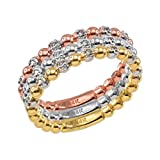 Fine 10k Two-Tone White and Yellow Gold Beaded Stackable Ring with Natural Diamonds