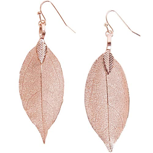 Humble Chic Natural Leaf Earrings - Lightweight Filigree Long Drop Dangle Earrings for Women, Small Rose Gold-Tone, 1.5 to 2 inches