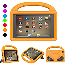 Fire 7 2017 Kids Case, Fire 7 2015 case - Jautenier Light Weight Shock Proof Protection Handle Stand Kid-Proof Cover Case for All-New Amazon Fire 7 Tablet (7th 7th Gen, 2017/ 5th Gen, 2015) (Orange)