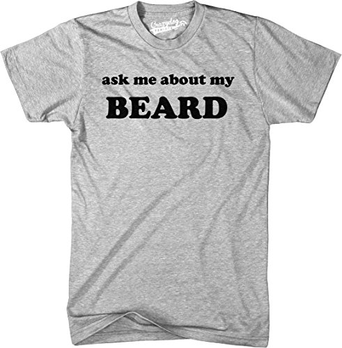 Crazy Dog T-Shirts Ask Me About My Beard T Shirt Funny Facial Hair Hipster Flip Up Tee (Heather Grey) - XL ()
