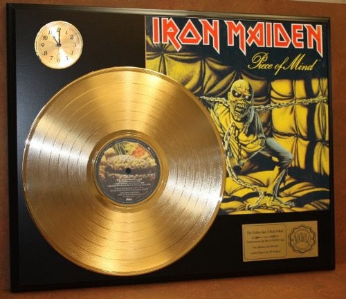 Iron Maiden Piece Of Mind LTD Edition 24Kt Gold LP Record & Clock Display Quality Collectible from Gold Record Outlet