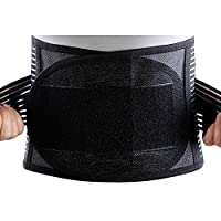 Tofern Outdoors Adjustable Double Pull Lumbar Support Steel Stays Support Lower Back Belt Brace, Radius, S