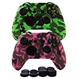 Cheap Hikfly Silicone Gel Controller Cover Skin Protector Kits for Xbox One Controller Video Games(2x Controller Camouflage cover with 8 x Thumb Grip Caps)(Green, Pink)