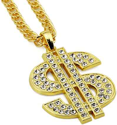 Ahier Gold Necklace Chain with Dollar Sign, 18K Gold Plated Hip Hop Chain Necklace Pendant for Men, 30inch