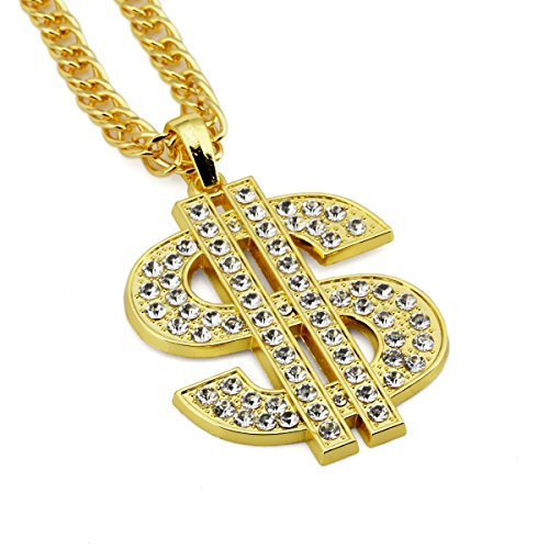 Ahier Gold Necklace Chain with Dollar Sign, 18K Gold Plated Hip Hop Chain Necklace Pendant for Men, -