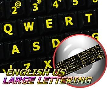 Inglés nos amarillo grandes letras pegatinas de teclado (mayúsculas) sobre fondo negro para portátiles, ordenadores de sobremesa y portátil: Amazon.es: ...