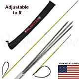 Scuba Choice 7' Travel Spearfishing 3 Piece Pole Spear 3 Prong Barb Paralyzer Tip Adjustable to 5' with Bag