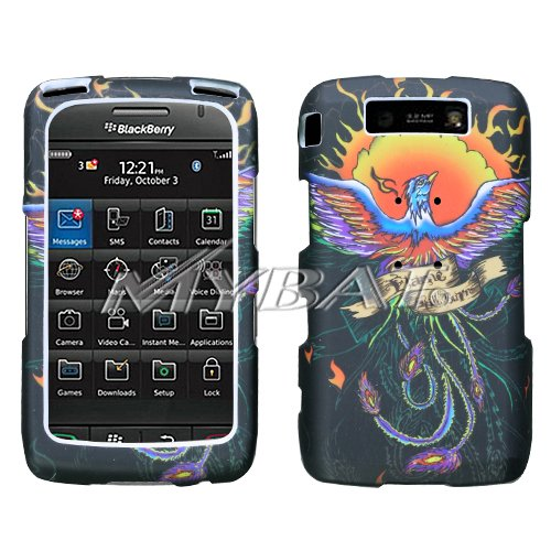 Black with Color Phoenix Red Yellow Flame Fire Design Snap-On Cover Hard Case Cell Phone Protector for BlackBerry 9550 Storm 2 II (Case Hard 9550 Cover)