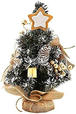 Árbol de Navidad pequeño dorado/púrpura/rojo, mini bonsái de pino ...