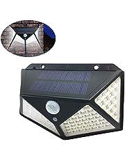 Mainstayae 100LED Solar Light Motion Sensor Wall Lamp IP65 Water-resistant Outdoor Security Lighting Nightlight for Pathway Yard Garden Courtyard