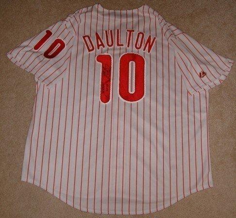 Darren Daulton Signed Phillies Jersey Inscribed 93 Nl Champ W/coa World Series