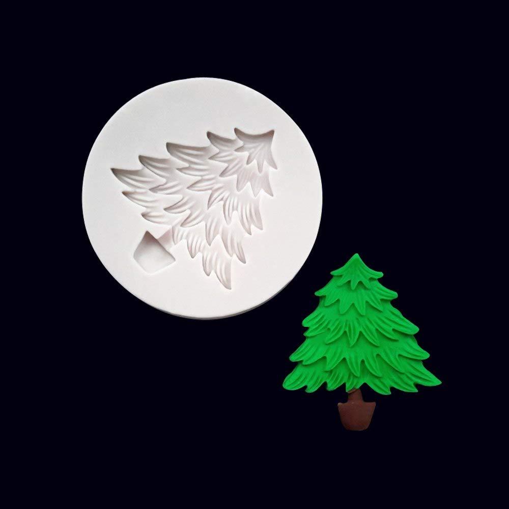 Molde de silicona para árbol de Navidad, molde de jabón, arcilla, decoración de tartas, chocolate, fondant, dulces, galletas, pudín, molde para hornear: ...