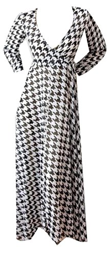 Dress White Maxi Sexy Womens Cruiize Deep Neck Black Sleeve Long Casual V Long qpUv64