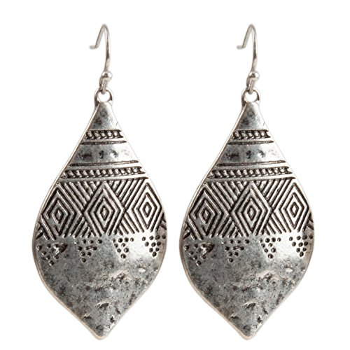 Bohemian Hammered & Engraved Silver Earrings - SPUNKYsoul Collection (Oval Silver Earrings Hammered)