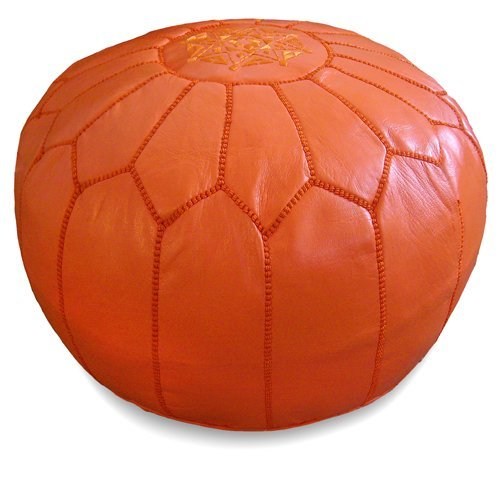 Mina Stuffed Moroccan Leather Pouf Ottoman, Many Colors Available, 20
