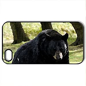 Black Bear - Case Cover for iPhone 4 and 4s (Bears Series, Watercolor style, Black) wangjiang maoyi