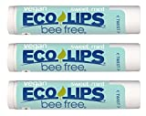 Vegan Lip Balm Sweet Mint by Eco Lips flavor 3 Pack Natural Bee Free with Candelilla Wax, Organic Cocoa Butter, & Coconut Oil Lip Care. Soothe & Moisturize Dry, Cracked and Chapped Lips - Made in USA.