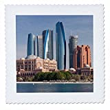 3dRose Danita Delimont - Cities - UAE, Abu Dhabi. Etihad Towers and Emirates Palace Hotel - 12x12 inch quilt square (qs_277131_4)